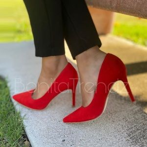 Red Vegan Suede Pointed Toe Pumps